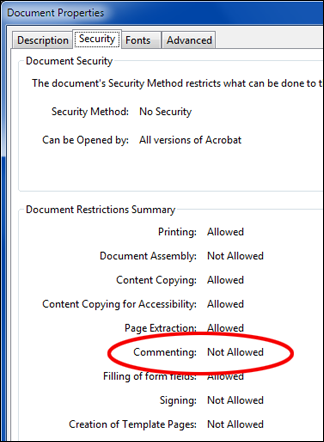 PDF Document Restrictions Summary