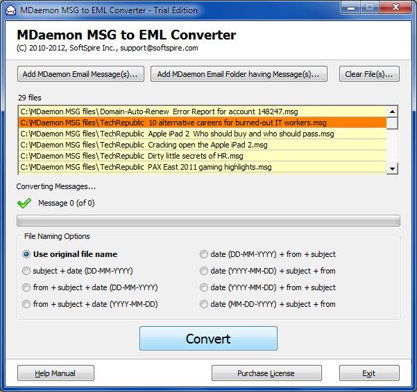 Windows 7 MDaemon MSG to EML Converter 2.0 full