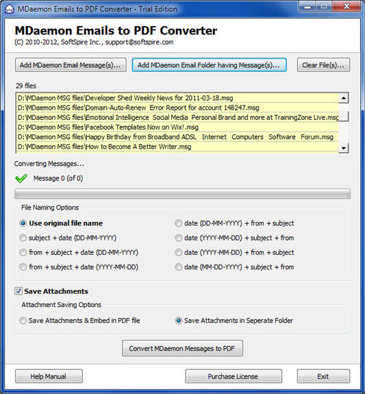 Convert MDaemon Emails to PDF