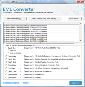 Add EML file/folders using any of the two options