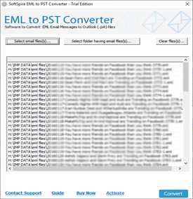 Select EML files and folders