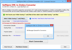 click on convert for starting the EML to Zimbra conversion