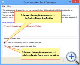 Select Address Book for conversion to Outlook