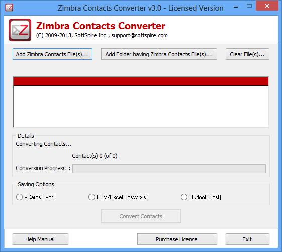 SoftSpire Zimbra Contacts Converter