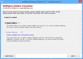 Launch Zimbra Converter to import TAR file into Outlook