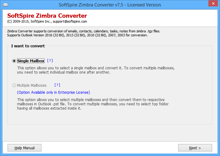 Screenshot of Zimbra TGZ to Outlook Converter 8.3