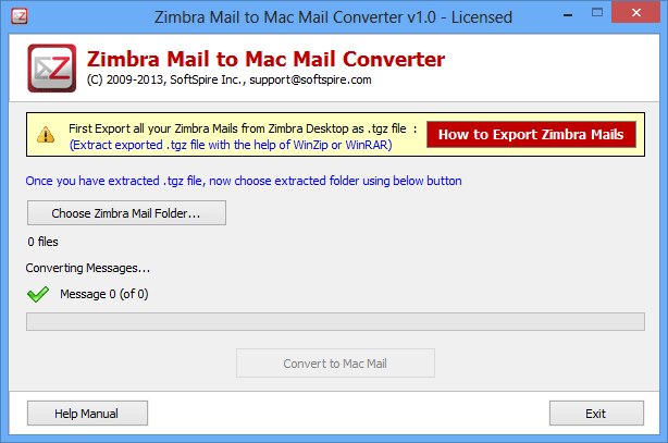 Free download SoftSpire Zimbra Mail Converter current