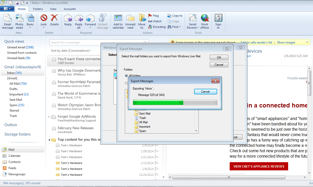 Outlook a windows live mail