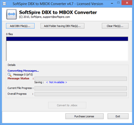 First Screen of DBX to MBOX Converter