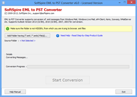 Run SoftSpire EML to PST Converter