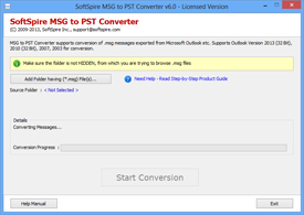 First Screen of MSG to PST Converter