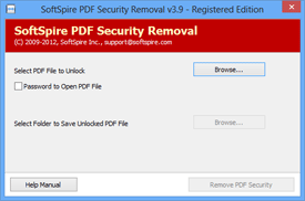 First Screen of PDF Security Removal